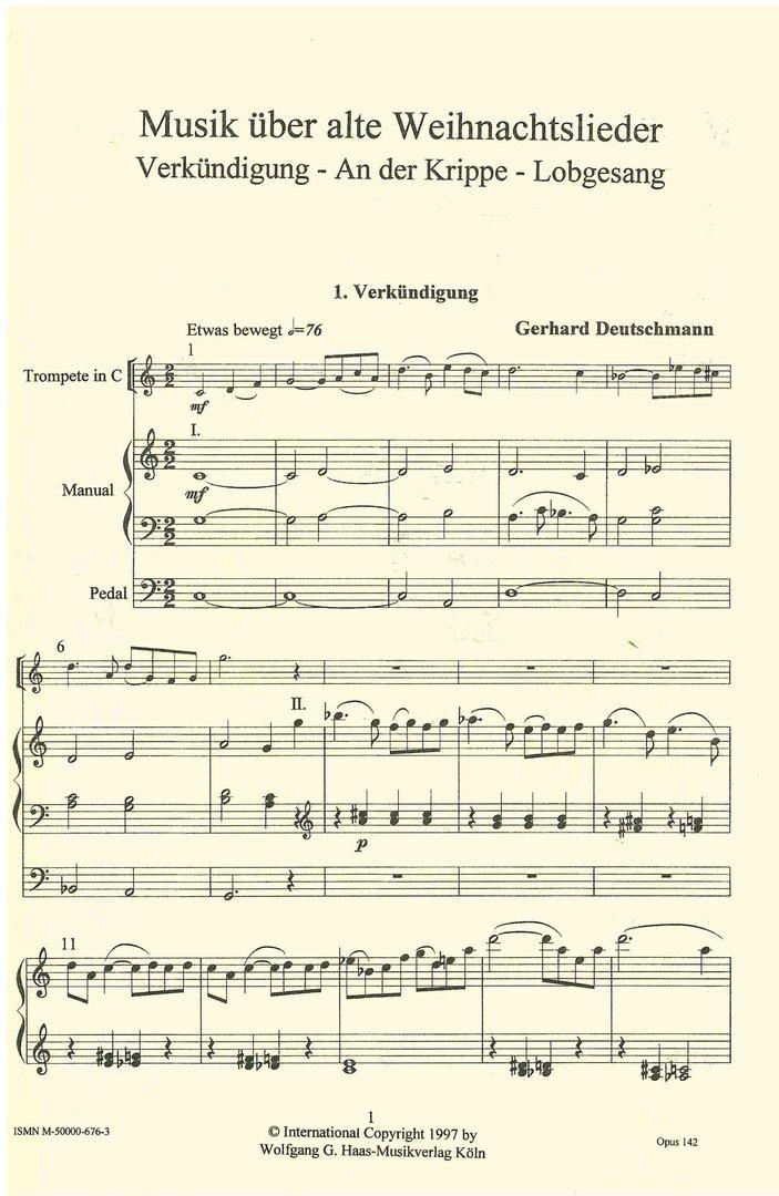 Alte Weihnachtslieder Deutsch.Deutschmann Gerhard 1933 Musik über Alte Weihnachtslieder Trompete B C Orgel