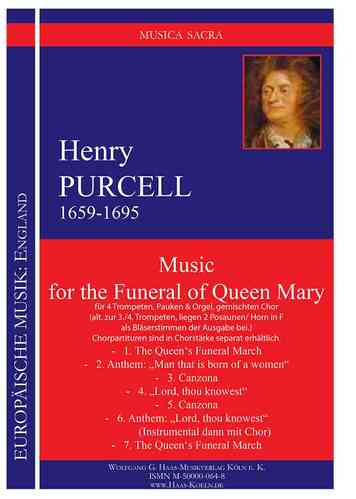 Purcell,Henry 1659-1695; Music for the Funeral of Queen Mary  für 4 Trompeten, Pauken, Orgel