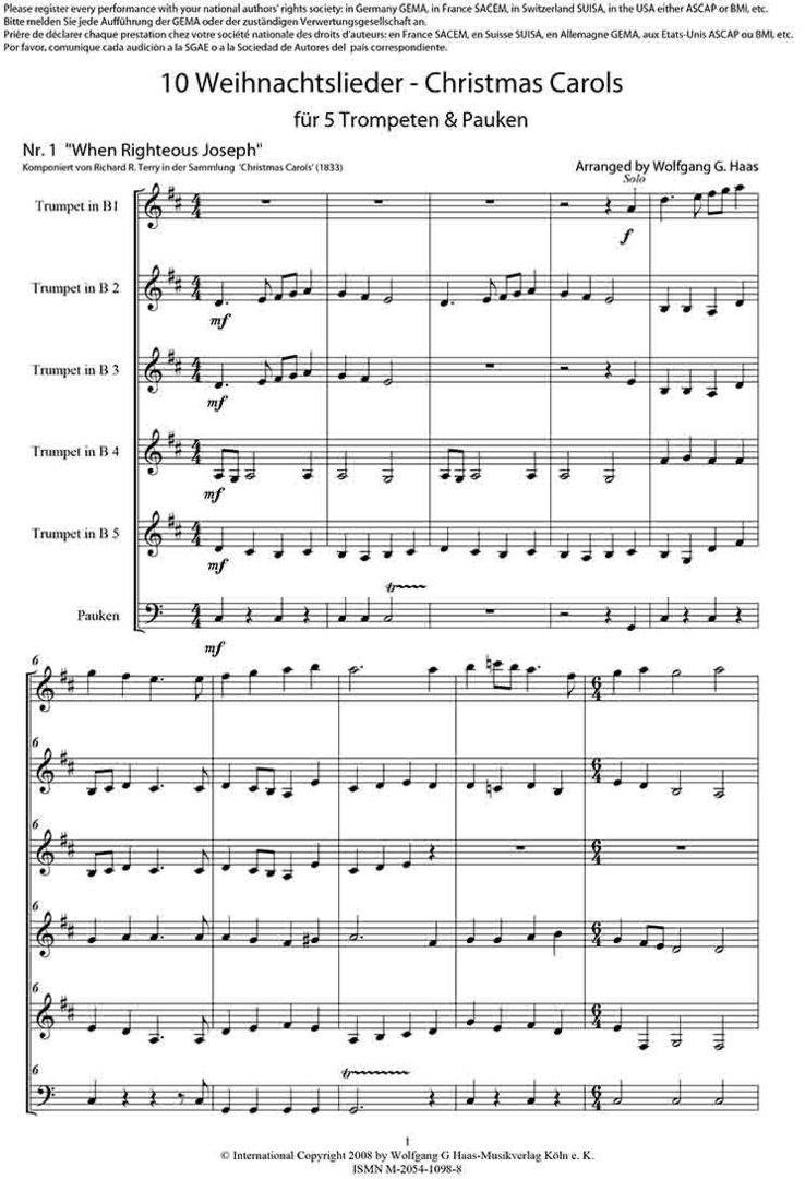 Haas, Wolfgang G. *1946 .;10 Weihnachtslieder für 5 Trompeten ...