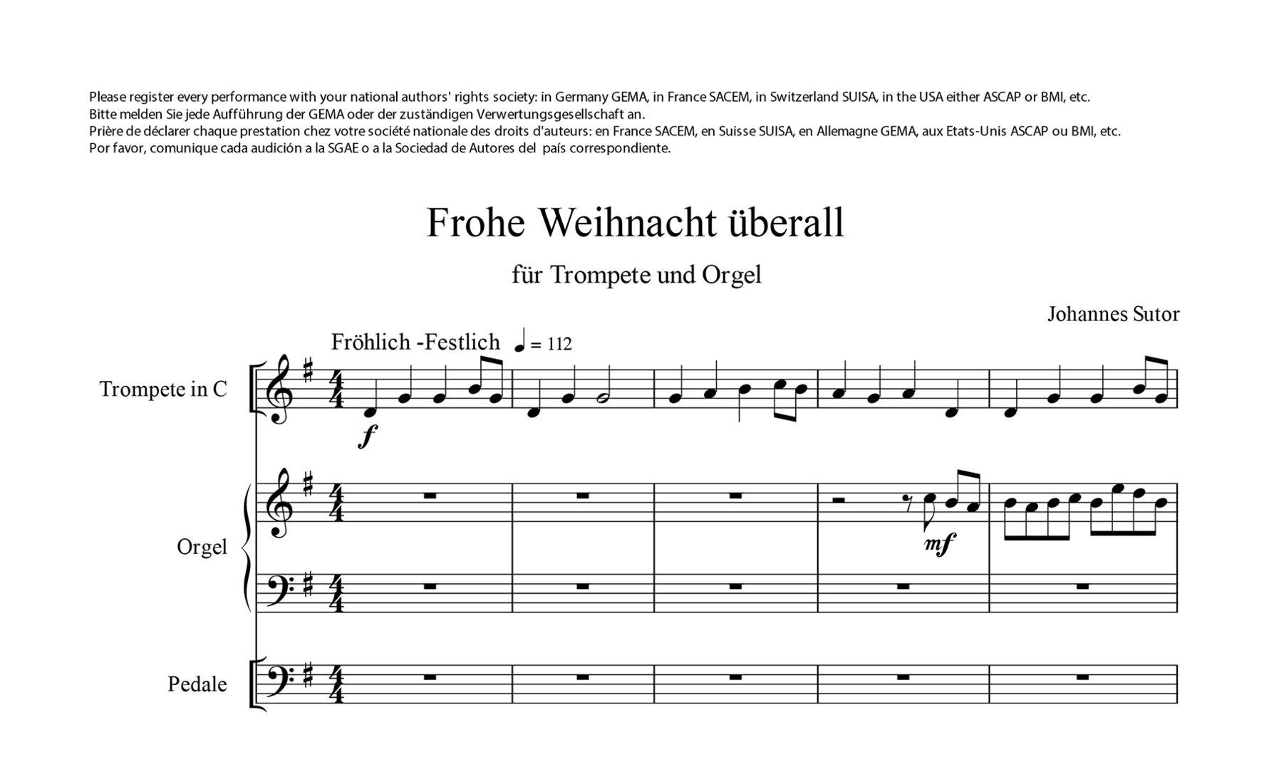 Frohe Weihnachten überall.Sutor Johannes 1939 Frohe Weihnacht überall Für Trompete In B C Und Orgel