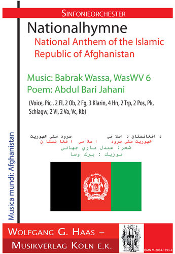 Wassa,Babrak *1947 National anthem of the Islamic Republic of Afghanistan WasWV 6