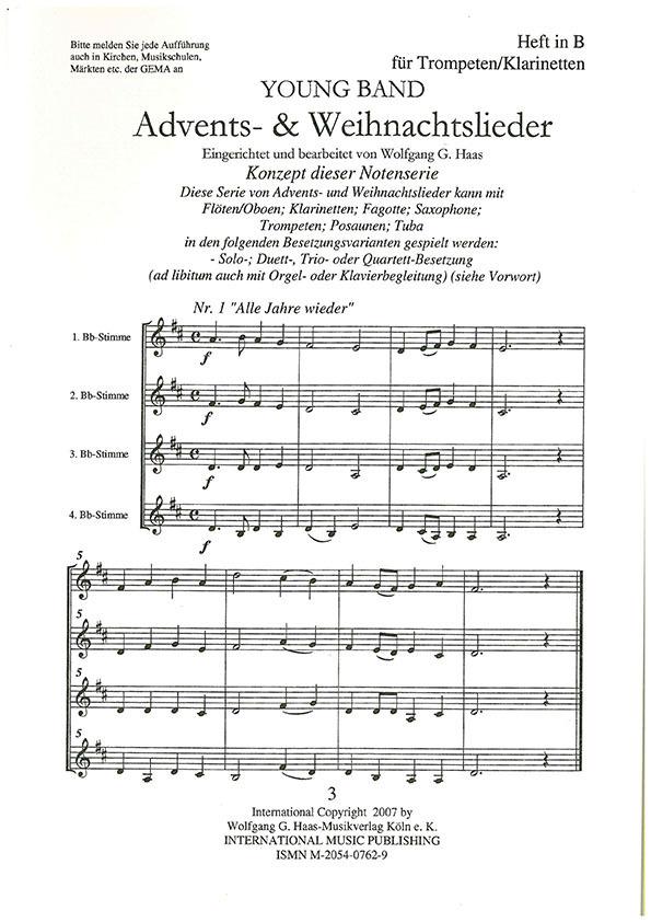 FIRST BAND Nr. 6 Advent und Weihnacht. Heft 3: 4 Trompeten / Klarinetten