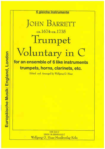 Barrett, John 1674c-1735; Trumpet voluntary in C (Sextett)