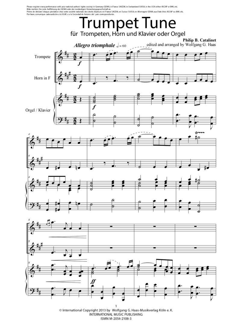 catelinet philip bramwell trumpet tune f r trompete in c a horn in f klavier orgel. Black Bedroom Furniture Sets. Home Design Ideas