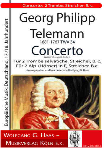 Telemann;Georg Philipp; Concerto F major, for 2 Trombe selvatiche, strings, B. c.