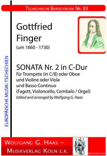 Finger,Gottfried, Sonata No.2 en Do mayor para Trompeta en C / B o. Oboe y Violín o. Viola, B.C.