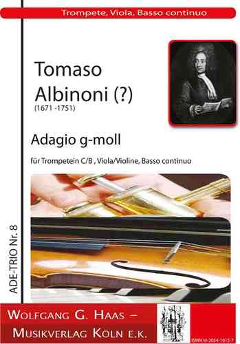 Albinoni, Tomaso 1671-1751; Adagio in G minor Trumpet in C, Viola (Vl, Fl, Ob) and Bc