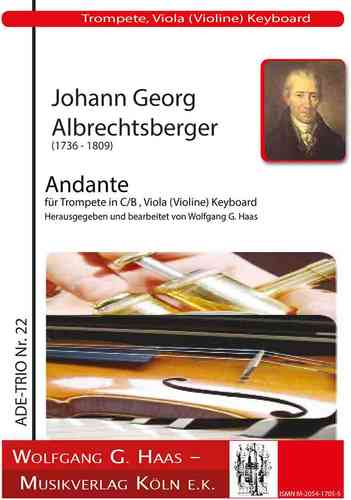 Albrechtsberger,Johann Georg  1736-1809; Andante, for trumpet in C / B, viola (violin) Cemb. / Piano
