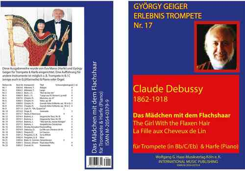 "Debussy,Claude Achille; ""The Girl with the Flaxen Hair"" for trumpet in B / C / Es, Harp (Piano)"