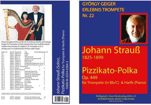 Strauss, Johann 1804-1899; Pizzikatopolka for trumpet in B/C/Es, Harp (Piano)