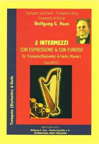Haas, Wolfgang G. * 1946 -2 Interludes HaasWV42 pour trompette Do/Sib, Harpe (Piano)