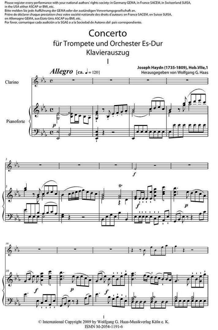 All Music Chords haydn trumpet concerto sheet music : Haydn,Joseph 1735-1809 -Concerto für Trompete, KA /Trumpet in Bb ...