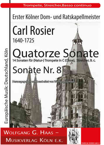 Rosier, Carl 1640-1725, Quatorze Sonate- -Sonata No. 8 (Natural) Trumpet in C / B (oboe), strings
