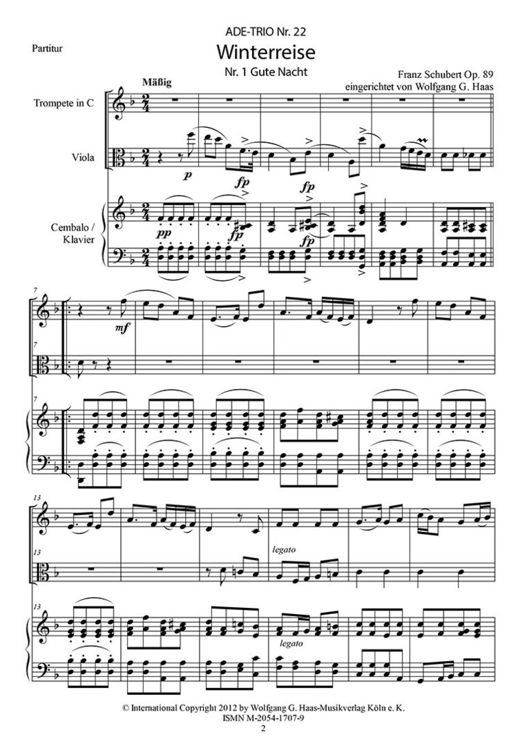 """Schubert, Franz; Winterreise: """"Gute Nacht"""" Trompete in B/C"""