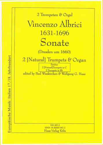 Albrici, Vincenzo 1631-1696 Sonata C major (Dresden 1660) C major, 2 trumpets, organ