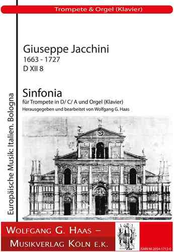 Jacchini, Giuseppe 1663 - 1727 Sinfonia D XII 8 for 2 Trumpets in D / C / A and Organ (Piano)