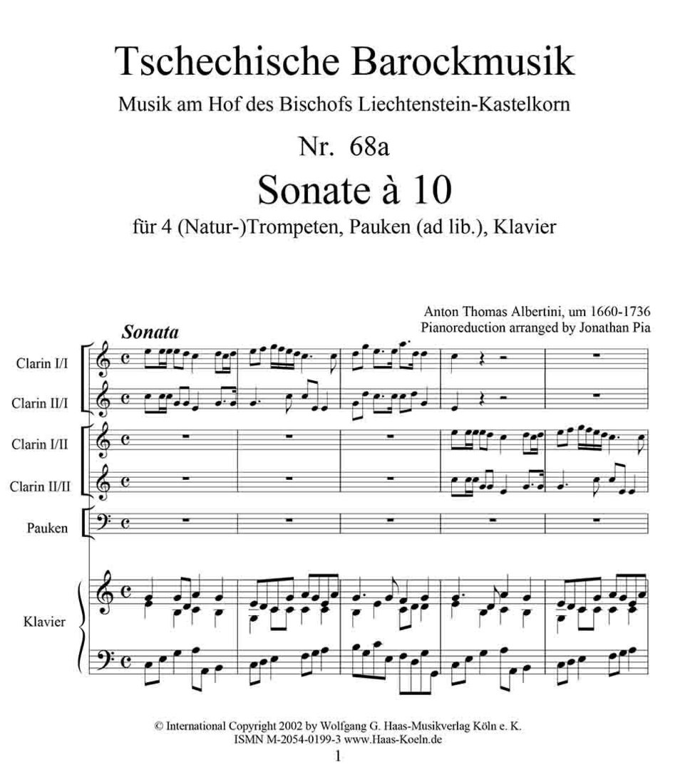 Albertini, Thomae 1671-1737 Sonata à 10 en Do Mayor para 4 (natural) trompetas, timbales, reducción