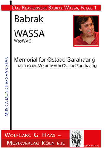Wassa, Babrak * 1947 -Memorial For Ostaad Sarahaang WasWV 2 according to a tune of Ostaad Sarahaang