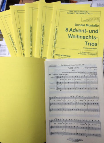 Montalto: FIRST BAND No.2, Advent und Weihnacht. 6 Hefte mit 3 Spielpartituren f.Trompete/Klarinette