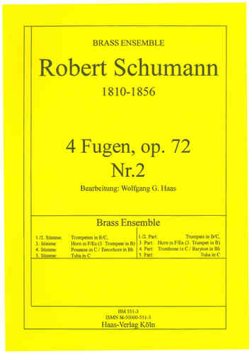 Schumann, Robert; 4 Fugen, op.72,2 Brass Ensemble