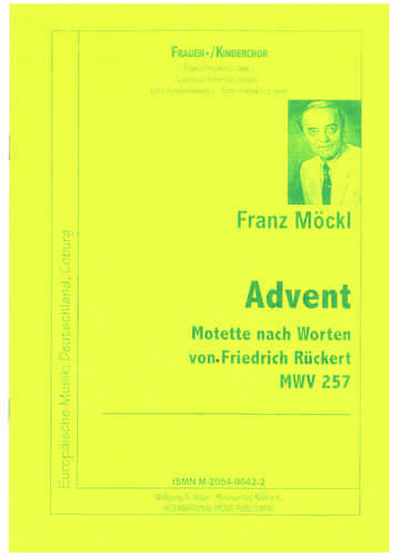 Möckl, Franz 1925-2014; Advent Motette für Frauenchor MWV257