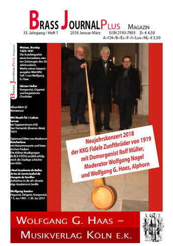 Brass Journal plus, 2018, 33. Jahrgang Heft 1 und 2, Januar-Juni, ISSN 2193-7893 E-Book