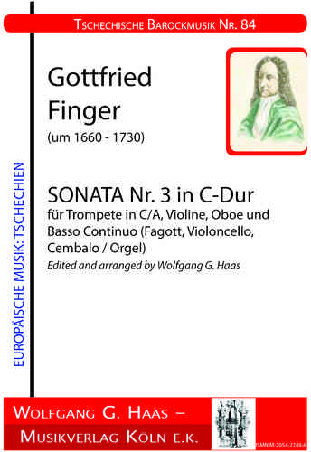 Finger, Gottfried, Sonata No.3 in C Major for Trumpet in C / A, Violin, Oboe and B.C.