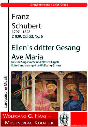 Schubert,Franz 1797-1828; Ellen`s third song  (Ave Maria) for a voice and piano (organ)