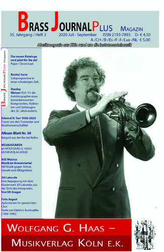 Brass Journal plus, 2020, 35. Jahrgang Heft 3, Juli-September ISSN 2193-7893 PAPER PRESS
